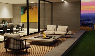 Square 22 Indoor Fireplace - In-Situ Image by EcoSmart Fire