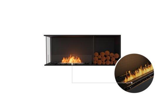 Flex 50LC.BXR Left Corner - Ethanol - Black / Black / Installed View by EcoSmart Fire
