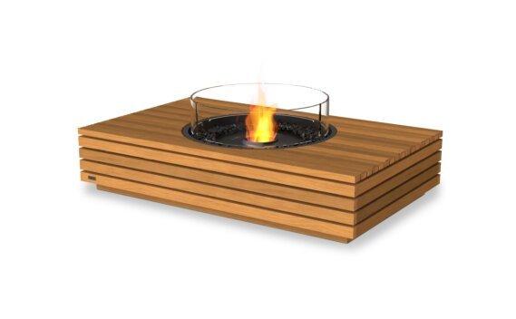 Martini 50 Fire Table - Ethanol - Black / Teak / Optional Fire Screen by EcoSmart Fire