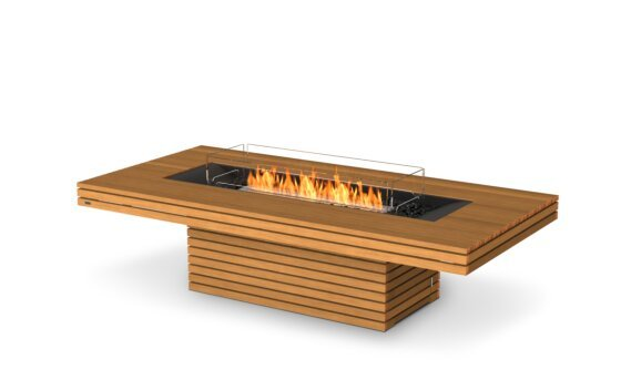 Gin 90 (Chat) Fire Table - Ethanol / Teak / Optional Fire Screen by EcoSmart Fire
