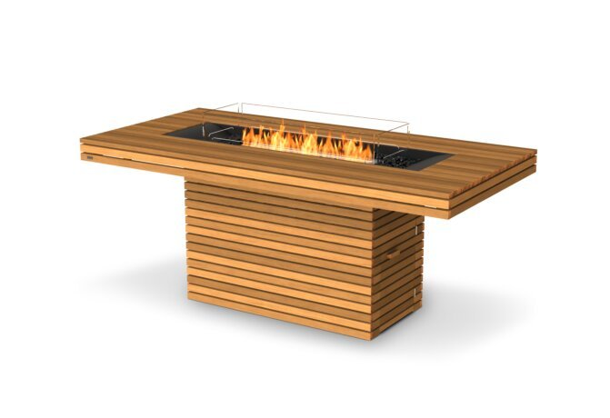 Gin 90 (Bar) Fire Table - Ethanol / Teak / Optional Fire Screen by EcoSmart Fire