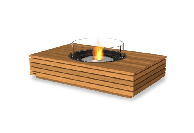 Martini 50 Fire Table - Ethanol / Teak / Optional Fire Screen by EcoSmart Fire