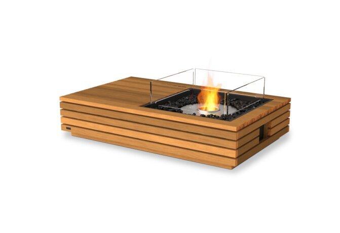 Manhattan 50 Fire Table - Ethanol / Teak / Optional Fire Screen by EcoSmart Fire