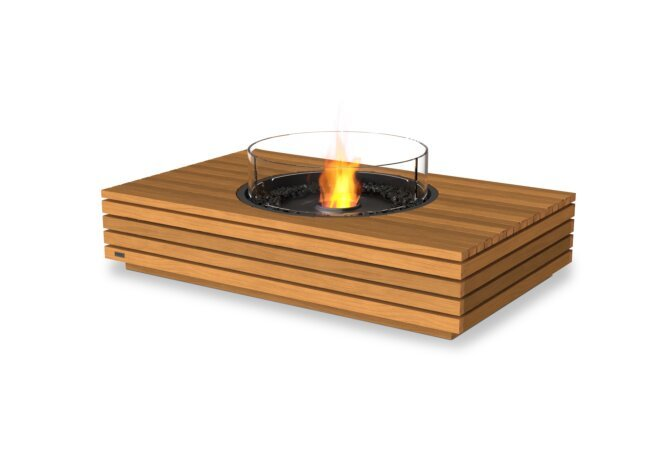 Martini 50 Fire Table - Ethanol - Black / Teak / Optional Fire Screen by EcoSmart Fire