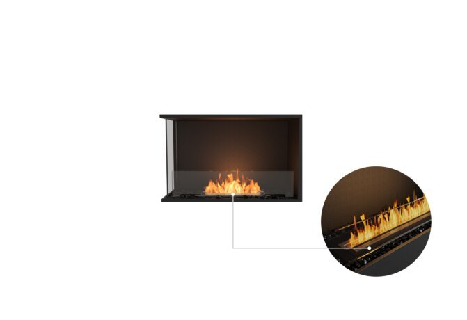 Flex 32LC Left Corner - Ethanol - Black / Black / Installed View by EcoSmart Fire