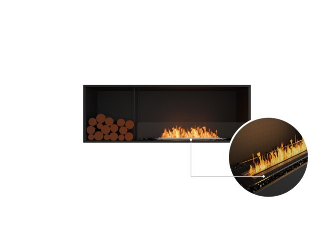 Flex 60SS.BXL Single Sided - Ethanol - Black / Black / Installed View by EcoSmart Fire