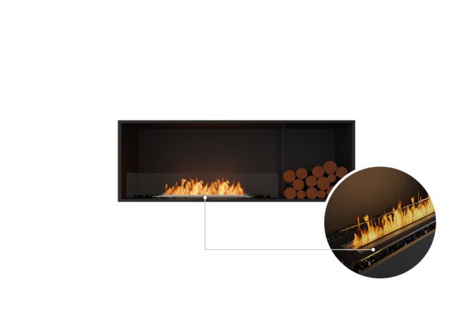 Flex 60SS.BXR Single Sided - Ethanol - Black / Black / Installed View by EcoSmart Fire