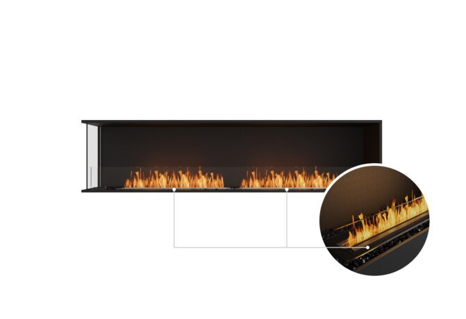 Flex 86LC Left Corner - Ethanol - Black / Black / Installed View by EcoSmart Fire