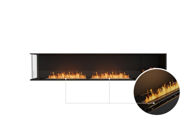 Flex 104LC.BXR Left Corner - Ethanol - Black / Black / Installed View by EcoSmart Fire