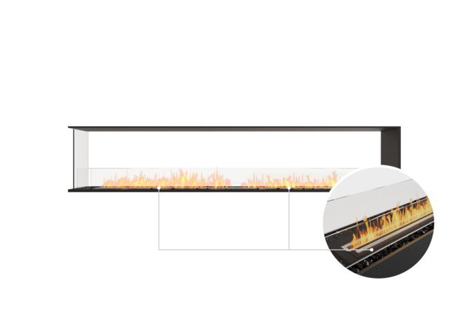 Flex 104PN Peninsula - Ethanol - Black / Black / Installed View by EcoSmart Fire