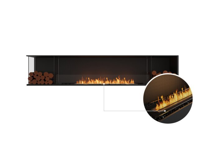 Flex 104LC.BX2 Left Corner - Ethanol - Black / Black / Installed View by EcoSmart Fire