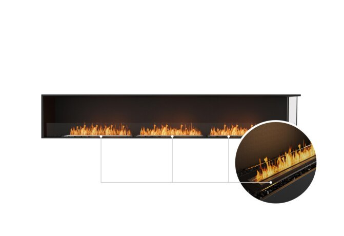 Flex 122RC Right Corner - Ethanol - Black / Black / Installed View by EcoSmart Fire