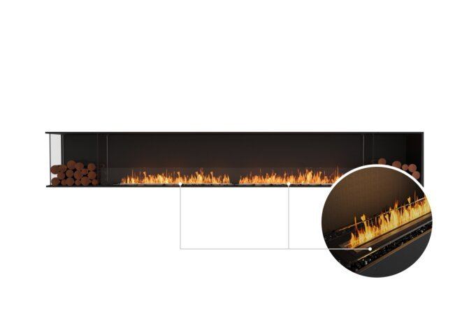 Flex 140LC.BX2 Left Corner - Ethanol - Black / Black / Installed View by EcoSmart Fire