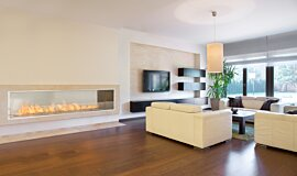 Living Area Commercial Fireplaces Built-In Fire Idea