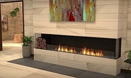 Lounge Area Linear Fires Built-In Fire Idea