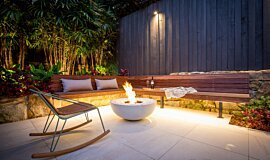 Stone Lotus Landscapes Fluid Concrete Technology Fire Pit Idea