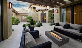 Courtyard Fluid Concrete Technology Fire Table Idea