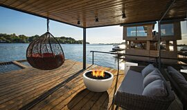 Waterfront Dock Outdoor Fireplaces Fire Table Idea