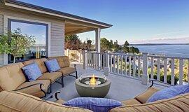 Outdoor Balcony Fluid Concrete Technology Fire Table Idea