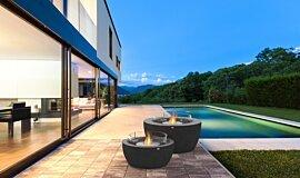 Outdoor Deck Fluid Concrete Technology Fire Table Idea