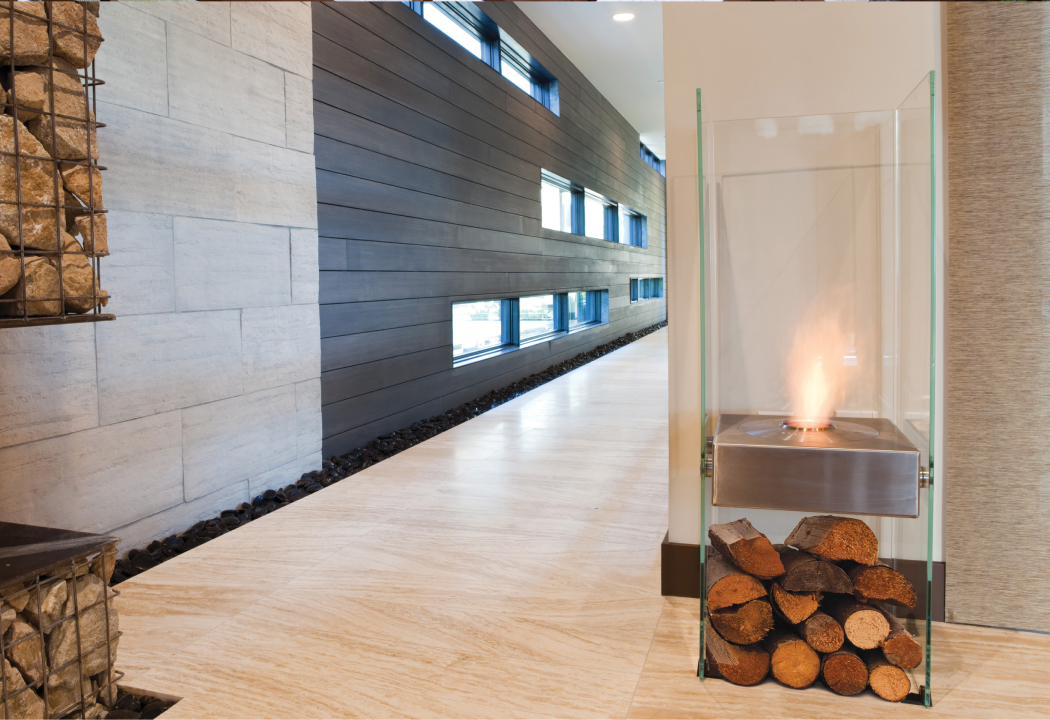 Ghost glass fireplace